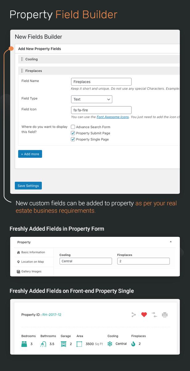 Real Estate Property Field Builder to add custom fields.