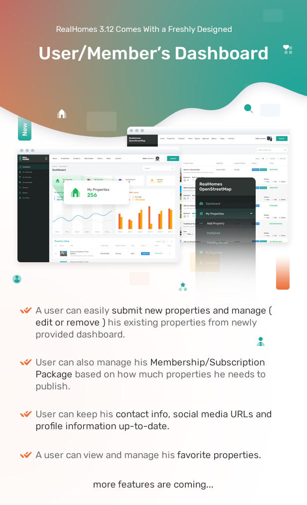 Freshly Designed User Dashboard to Manage Real Estate Properties