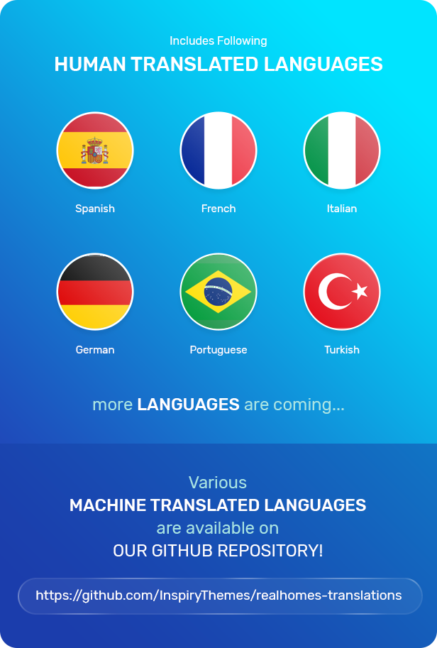 Translation included for Spanish, French, Italian, German, Portuguese and Turkish
